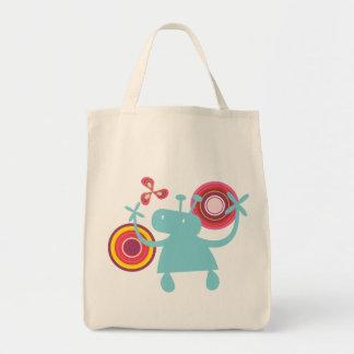 Retro Colorful Fun Cute Boy Cartoon Aliens Pattern Grocery Tote Bag