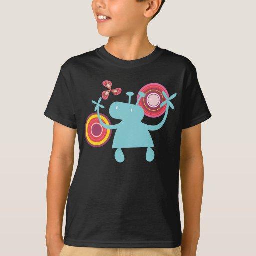 Retro Colorful Fun Cute Boy Cartoon Aliens Pattern T-Shirt
