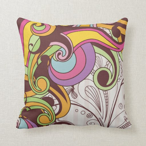 Retro colorful funky wave swirls pillow