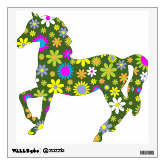 Retro Colorful Green Horse with Floral Background Wall Sticker