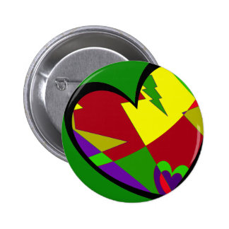 Retro Colorful Heart Abstract Button