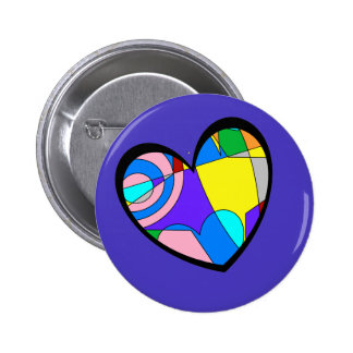 Retro Colorful Heart Abstract Pinback Button