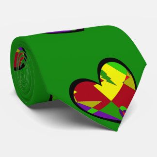 Retro Colorful Heart Abstract Tie