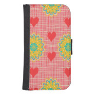 Retro Colorful Hearts & Flowers Galaxy S4 Wallet Case