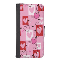 Retro Colorful Hearts Phone Wallets