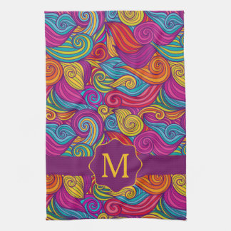 Retro Colorful Jewel Tone Swirly Wave Pattern Hand Towel