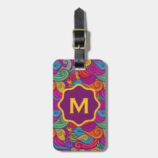 Retro Colorful Jewel Tone Swirly Wave Pattern Luggage Tag