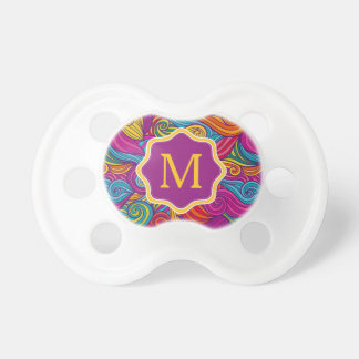 Retro Colorful Jewel Tone Swirly Wave Pattern Pacifier