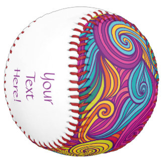 Retro Colorful Jewel Tone Swirly Wave Pattern Softball