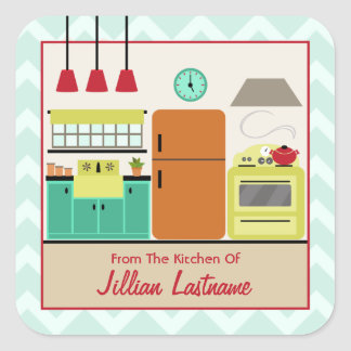 Retro Colorful Kitchen Label Sticker