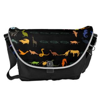 Retro Colorful Modern Animals Pattern #2 Messenger Bag