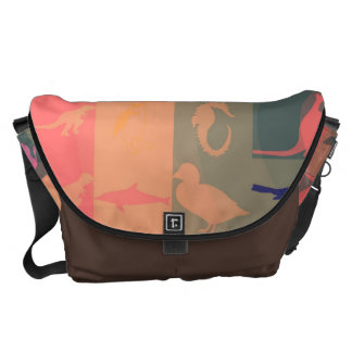 Retro Colorful Modern Animals Pattern Messenger Bag