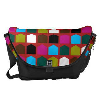 Retro Colorful Modern Geometric Pattern 16 Courier Bag