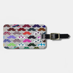Small Luggage Tag with leather strap with Mustache Patterns design
