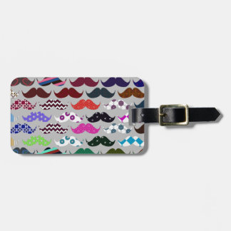 Retro Colorful Mustache Pattern Bag Tag