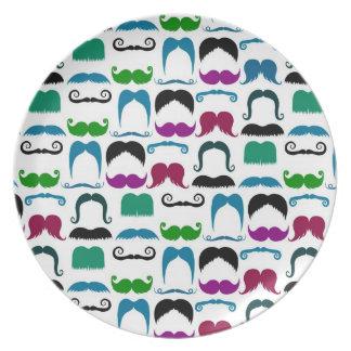 Retro Colorful Mustache Pattern Plate