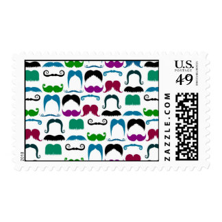 Retro Colorful Mustache Pattern Postage