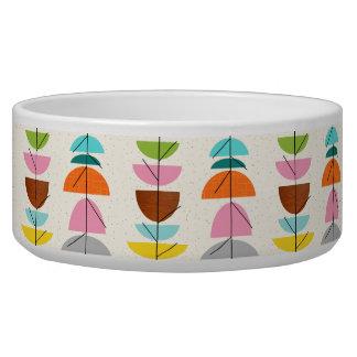 Retro Colorful Nests Ceramic Dog Bowl
