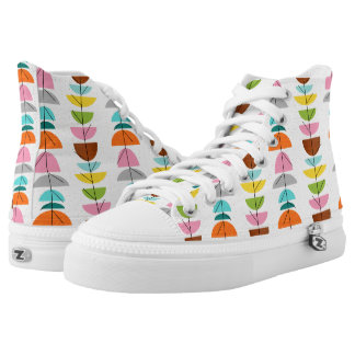 Retro Colorful Nests High Top Shoes Printed Shoes