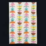 "Retro Colorful Nests Kitchen Towel<br><div class=""desc"">Feather your nest with this Retro Colorful Nests Kitchen Towel! The design features a cream background with gold speckles and rows of wonderfully kitschy, colorful semi-circles resting on minimalistic, black branches. The semi-circles resemble fairy tale, bird&#39;s nests in shades of light blue, teal, turquoise, orange, pink, yellow, green, gray, and...</div>"