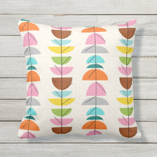 Retro Colorful Nests Outdoor Pillow