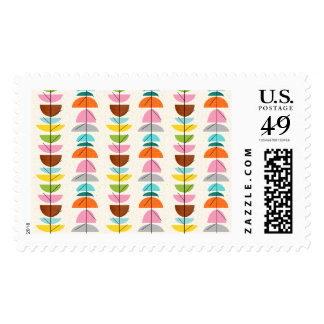 Retro Colorful Nests Postage Stamps