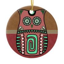 Retro Colorful Owl Boho Bohemian Bird Custom Ceramic Ornament