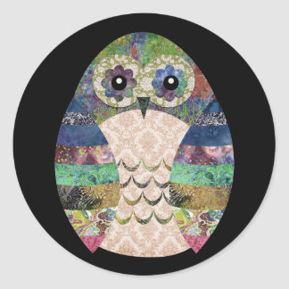 Retro Colorful Owl Boho Bohemian Bird Custom Classic Round Sticker