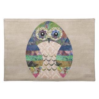 Retro Colorful Owl Boho Bohemian Bird Custom Cloth Placemat