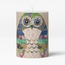 Retro Colorful Owl Boho Bohemian Bird Custom Pillar Candle