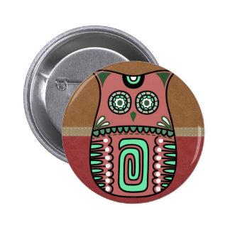 Retro Colorful Owl Boho Bohemian Bird Custom Pinback Button