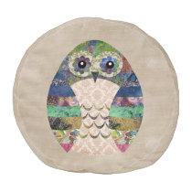 Retro Colorful Owl Boho Bohemian Bird Custom Pouf