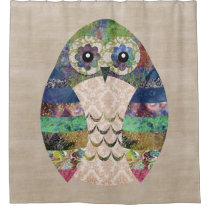 Retro Colorful Owl Boho Bohemian Bird Custom Shower Curtain
