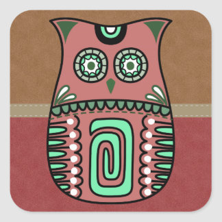 Retro Colorful Owl Boho Bohemian Bird Custom Square Sticker