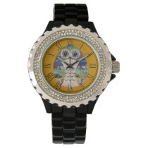 Retro Colorful Owl Boho Bohemian Bird Custom Wristwatch