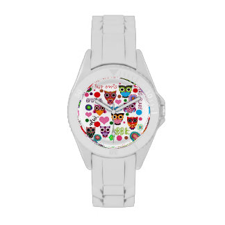 Retro Colorful Owl Pattern Wristwatches