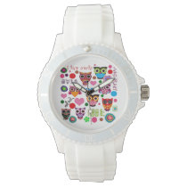 Retro Colorful Owl Pattern Watch
