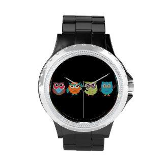Retro Colorful Owls Wristwatch