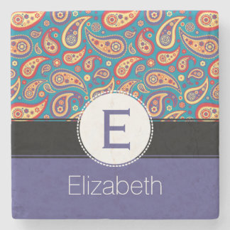 Retro Colorful Paisley Monogram and Name Pattern Stone Coaster