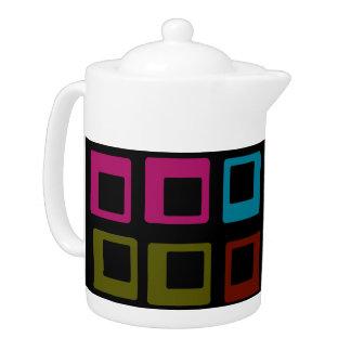 Retro Colorful Pattern Seamless Art Teapot
