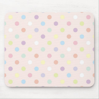 Retro colorful polka dots on baby pink background mouse pad