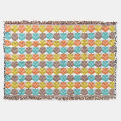 Retro Colorful Polka Dots Pattern Throw Blanket