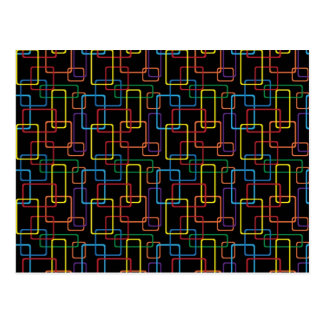 Retro Colorful Rectangle Digital Design Postcard