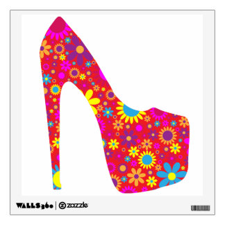 Retro Colorful Red Shoe with Floral Background Wall Sticker