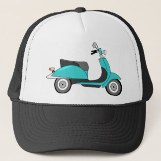 Retro Colorful Scooter Print Trucker Hat
