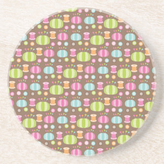 Retro Colorful Sewing Pattern Drink Coaster