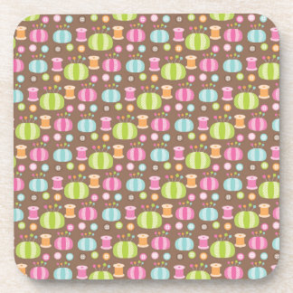 Retro Colorful Sewing Pattern Coaster