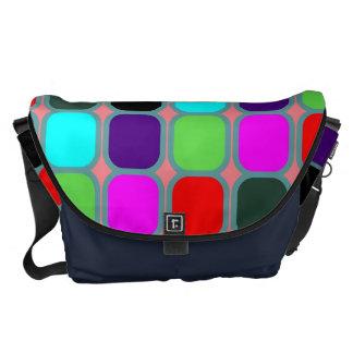 Retro Colorful Squares Modern Geometric Pattern 10 Messenger Bag