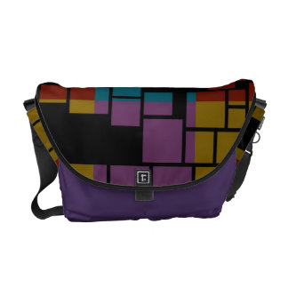 Retro Colorful Stained Glass Abstract Art Deco Courier Bag