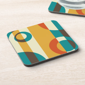 Retro Colorful Striped Abstract Art Beverage Coaster